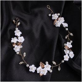 Haarband Gold Perlen Blumen Perlen Strass Haarschmuck Braut Haarschmuck Hochzeit N2830-Gold