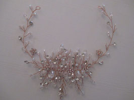 Haardraht Rosegold Perlen Strass N20910-Rosegold Brautschmuck Haarband Rosegold Perlen Strass Haarschmuck Festlich Haarschmuck Braut Haarschmuck Hochzeit