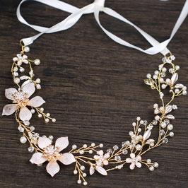 Haarband Gold Blumen Perlen Braut Haarschmuck Gold Perlen  N20243 Brautschmuck Haare Gold Haarschmuck Hochzeit