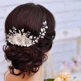 Haarschmuck Blumen Perlen Silber Braut Haardraht Silber Perlen Blumen Brautschmuck Blumen Perlen N20001