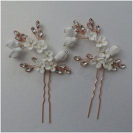 Set 3 Stück Haarnadeln Rosegold Blumen Perlen Strass Haarschmuck Hochzeit N6994-Rosegold Haarschmuck Braut