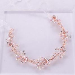 Haarband-Haardraht Blumen Perlen Rosegold Haarschmuck Braut Haarschmuck Hochzeit N22009 Haarschmuck Rosegold