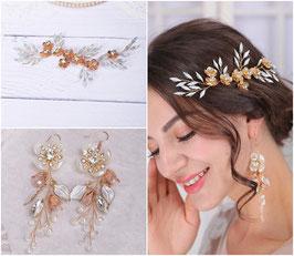 Haarklammer Gold Blumen & Ohrringe Art. N4790 Haarschmuck Braut Haarschmuck Hochzeit