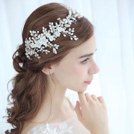 Haarband Blumen Perlen Silber Haarschmuck Braut Haarschmuck Hochzeit N21828 Haarband Braut Haarband Hochzeit