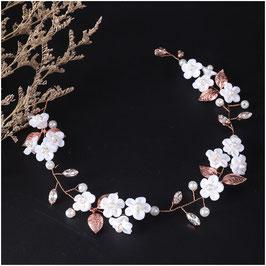 Haarband Blumen Perlen Strass Rosegold Haarschmuck Braut Haarschmuck Hochzeit N2830-Rosegold