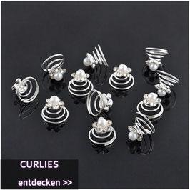 Haarschmuck Set 12 Stück Curlies Perlen Strass Silber N9922 Haarschmuck Braut Haarschmuck Hochzeit