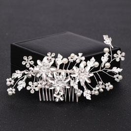 Haarkamm mit feinen Blättern, Strass, Perlen und kleinen Blüten N30009
