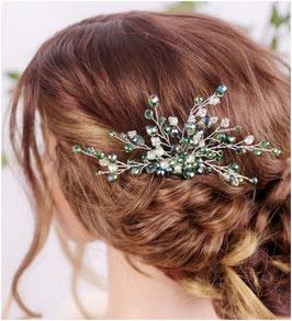Haarkamm Grün Perlen Strass Haarschmuck Braut Haarschmuck Hochzeit N30111