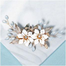 Haarklammer Gold Perlen Strass Haarschmuck Hochzeit Haarschmuck Braut N4329 Fascinator Braut