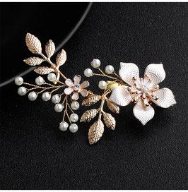 Haarschmuck Braut Haarklammer Gold Blumen Perlen Vintage Hochzeit Haarschmuck Gold N40188