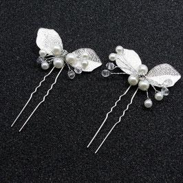 Set 2 Stück Haarnadeln Braut Haarschmuck Silber Perlen Haarnadeln Hochzeit Haarschmuck Braut Haarschmuck Hochzeit N67027