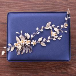Haarschmuck Braut Haarkamm Blumen Perlen Gold Vintage Hochzeit Haarschmuck Gold N3192