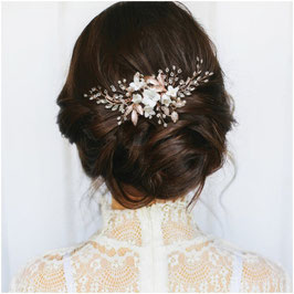 Haarkamm Rosegold Perlen Blumen Haarschmuck Braut Haarschmuck Hochzeit N3239-Rosegold
