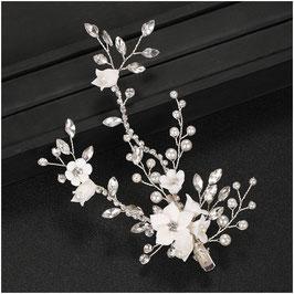 Fascinator Braut Haarklammer Blumen Perlen Strass Silber N40273 Haarschmuck Braut Haarschmuck Hochzeit