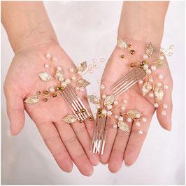 Haarschmuck Set 3 Stück Haarschmuck Gold Perlen Haarschmuck Hochzeit N7994-Gold Haarschmuck Braut