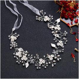 Haarband Silber Blumen Perlen Haarschmuck Braut Haarschmuck Hochzeit N26068-Silber