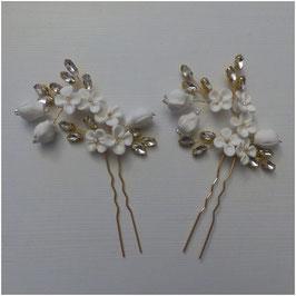 Set 3 Stück Haarnadeln Gold Blumen Perlen Strass Haarschmuck Hochzeit N6994-Gold Haarschmuck Braut