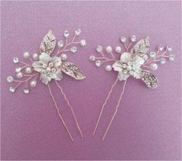 Set 2 Stück Haarnadeln Rosegold Perlen Haarschmuck Braut N64018 Hochzeit Haarschmuck Rosegold Brautschmuck Haare