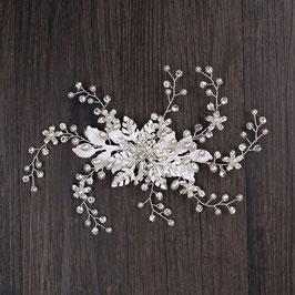 Haarklammer Braut Perlen Strass Silber Haarschmuck Braut Kopfschmuck Hochzeit N4597