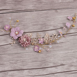 Haardraht Blumen Perlen Gold Haarschmuck Hochzeit Haarschmuck Braut N23088