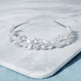 Diadem Silber Perlen Blumen Strass Haarschmuck Braut  Diadem Hochzeit Haarschmuck Festlich N28035-Silber