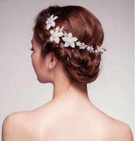 Haarschmuck Braut Haarband Blumen Perlen Strass Silber N2863 Brautschmuck Blumen Haarschmuck Festlich