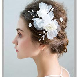 Fascinator Braut Haarklammer Blumen Perlen Haarschmuck Blüten N40003