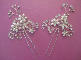 Brautschmuck Haare Set 2 Stück Silber Strass Perlen Haarnadeln Hochzeit Haarnadeln Braut Haarschmuck N60108