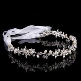 Haarband Haardraht Silber Strass Perlen Braut Haarschmuck Silber Perlen Strass N2081