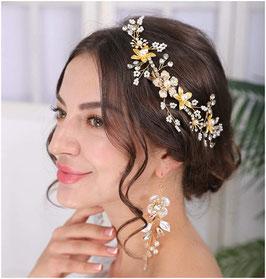 Haardraht Gold Blumen Perlen Haarschmuck Braut Haarschmuck Hochzeit N25028