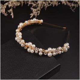 Haarreif Gold Perlen Strass Haarschmuck Hochzeit Haarschmuck Braut N1442