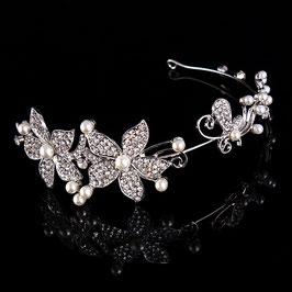 Schmuck für die Brautfrisur Haarreif zur Hochzeit Haarschmuck Hochzeit Haarreif Blumen Perlen Braut Haarband Strass N10007