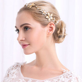 Braut Haardraht Gold Blumen Strass Vintage Haarschmuck Hochzeit N2441 Haarschmuck Festlich