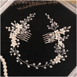 Haarschmuck Perlen Blumen Silber Haarschmuck Braut Haarschmuck Hochzeit Kopfschmuck Braut N3398