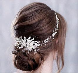 Haarband Haardraht Blumen Perlen Silber Haarschmuck Braut Kopfschmuck Hochzeit Haarschmuck Festlich N20222-Silber