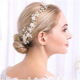 Brautschmuck Haarkamm-Haardraht Perlen Blumen Haarschmuck Blumen Perlen Haarschmuck Blüten Haarkamm Hochzeit N30001