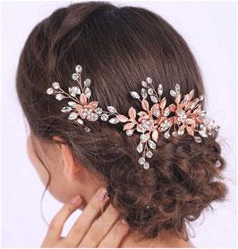 Haarschmuck Set Rosegold - Haarklammer Rosegold 1 Stk. & Haarnadeln Rosegold 2 Stk. Haarschmuck Braut N78705 Haarschmuck Hochzeit Haarschmuck Rosegold Blumen Perlen Strass