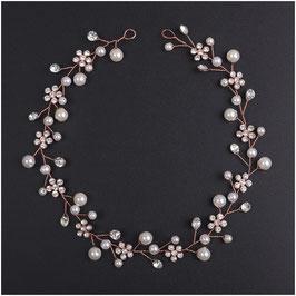 Haardraht-Haarband Rosegold Strass Blumen Perlen Haarschmuck Braut Haarschmuck Hochzeit N2108-Rosegold