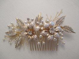 Brautschmuck Haarkamm Blumen Perlen Gold N30094 Haarschmuck Braut Haarschmuck Hochzeit