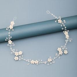 Haardraht-Haarband Perlen Strass Blumen Silber Haarschmuck Perlen  N20333 Brautschmuck Perlen Braut Haarschmuck Hochzeit