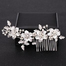 Haarschmuck Braut Haarkamm Silber Blumen Perlen Strass Haarschmuck Silber N30550 Brautschmuck Blumen Silber Braut Haarschmuck Hochzeit