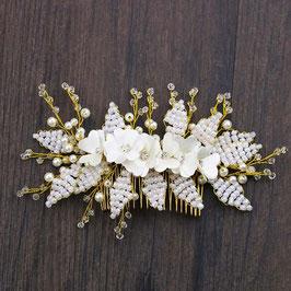 Braut Haarkamm Perlen Blumen Gold Haarschmuck Hochzeit N37303 Brautschmuck Haare