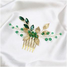 Haarkamm Gold-Grün Perlen N3502 Haarschmuck Braut Haarschmuck Hochzeit