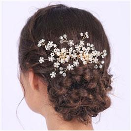 Haarschmuck Braut Haarkamm Gold Perlen Blumen Strass Haarkamm Hochzeit Haarschmuck Kamm N32922