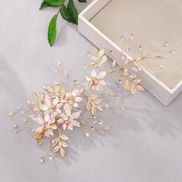 Haarklammer Gold Blumen Perlen Fascinator Braut Haarklammer Hochzeit N42015 Haarschmuck Braut Haarschmuck Hochzeit