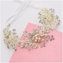 Haarband Perlen Blumen Strass Silber Haarschmuck Braut Haarschmuck Hochzeit N26078
