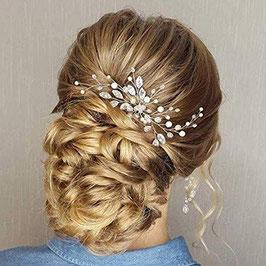 Set 2 Stk. Haarnadeln Strass Perlen Silber Haarnadeln Braut Haarschmuck Hochzeit Haarschmuck Festlich N69088