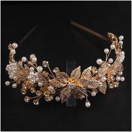 Haarreif Gold Perlen Strass Haarschmuck Hochzeit Haarschmuck Braut N1441-Gold