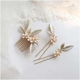 Haarschmuck Set - Haarkamm 1 Stk. & Haarnadeln 2 Stk. Haarschmuck Braut N70217 Haarschmuck Hochzeit Haarschmuck Blumen