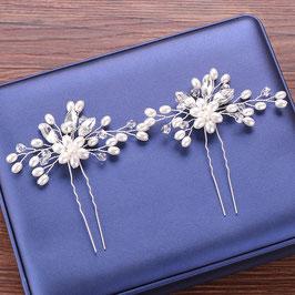 Haarschmuck Braut Haarnadeln Silber Perlen Haarschmuck Hochzeit (Set 2 Stück) N60342